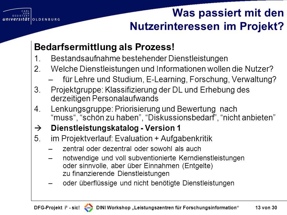 DFG-Projekt i³ - sic! DINI Workshop Leistungszentren für Forschungsinformation 13 von 30 Was passiert mit den Nutzerinteressen im Projekt? Bedarfsermi