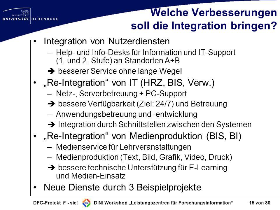 DFG-Projekt i³ - sic! DINI Workshop Leistungszentren für Forschungsinformation 15 von 30 Welche Verbesserungen soll die Integration bringen? Integrati