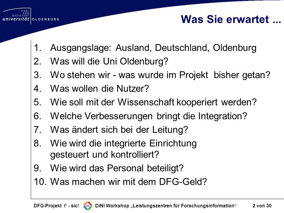 DFG-Projekt i³ - sic! DINI Workshop Leistungszentren für Forschungsinformation 2 von 30 Was Sie erwartet... 1.Ausgangslage: Ausland, Deutschland, Olde