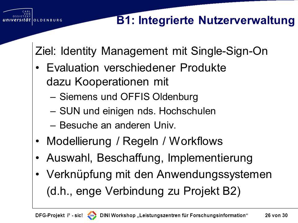 DFG-Projekt i³ - sic! DINI Workshop Leistungszentren für Forschungsinformation 26 von 30 B1: Integrierte Nutzerverwaltung Ziel: Identity Management mi