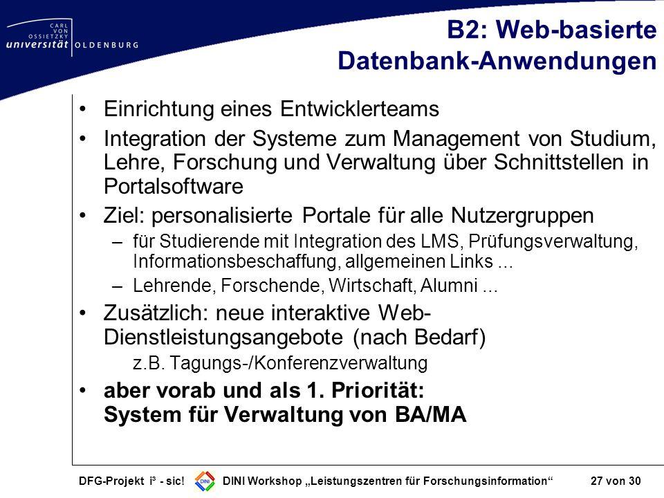 DFG-Projekt i³ - sic! DINI Workshop Leistungszentren für Forschungsinformation 27 von 30 B2: Web-basierte Datenbank-Anwendungen Einrichtung eines Entw