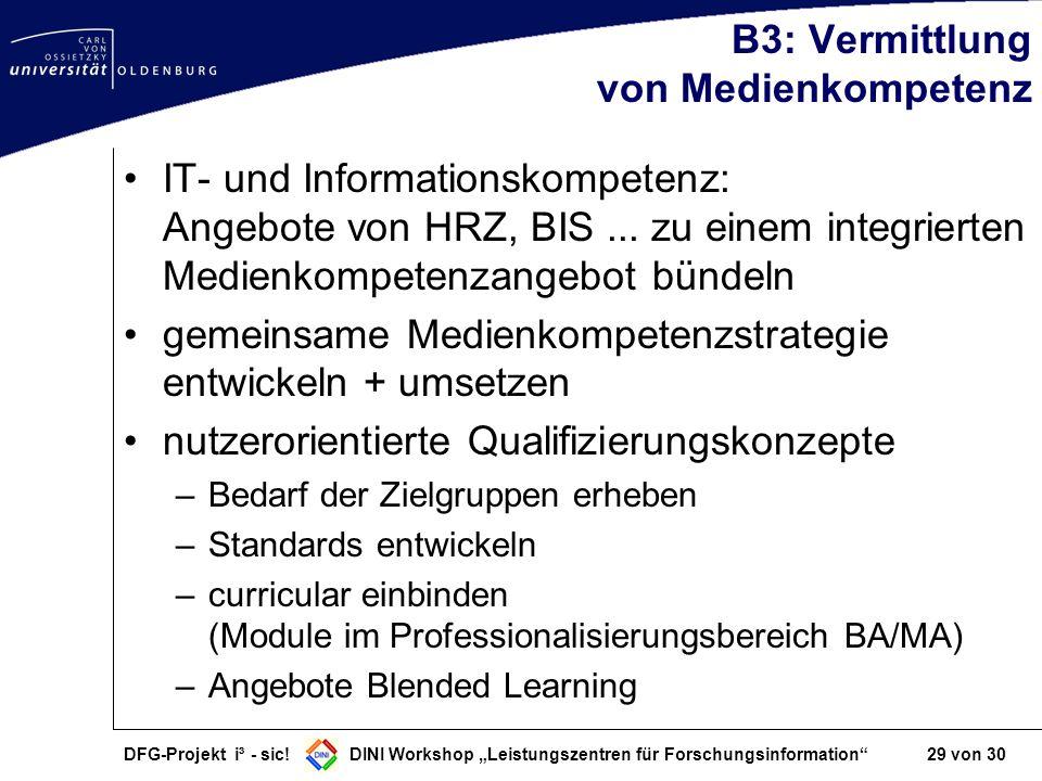 DFG-Projekt i³ - sic! DINI Workshop Leistungszentren für Forschungsinformation 29 von 30 B3: Vermittlung von Medienkompetenz IT- und Informationskompe