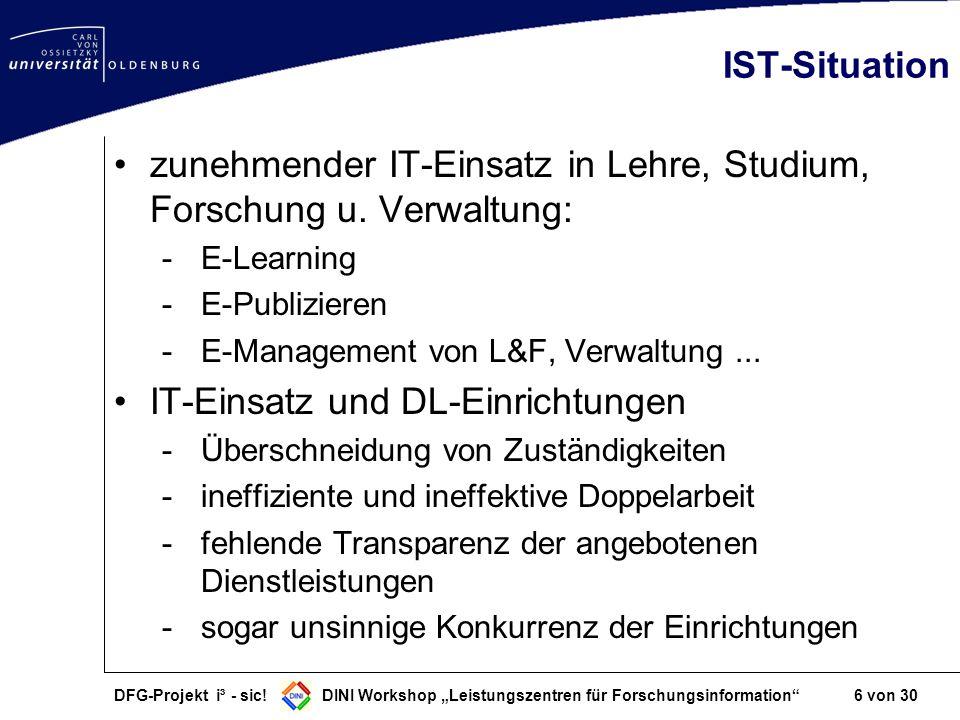 DFG-Projekt i³ - sic! DINI Workshop Leistungszentren für Forschungsinformation 6 von 30 IST-Situation zunehmender IT-Einsatz in Lehre, Studium, Forsch