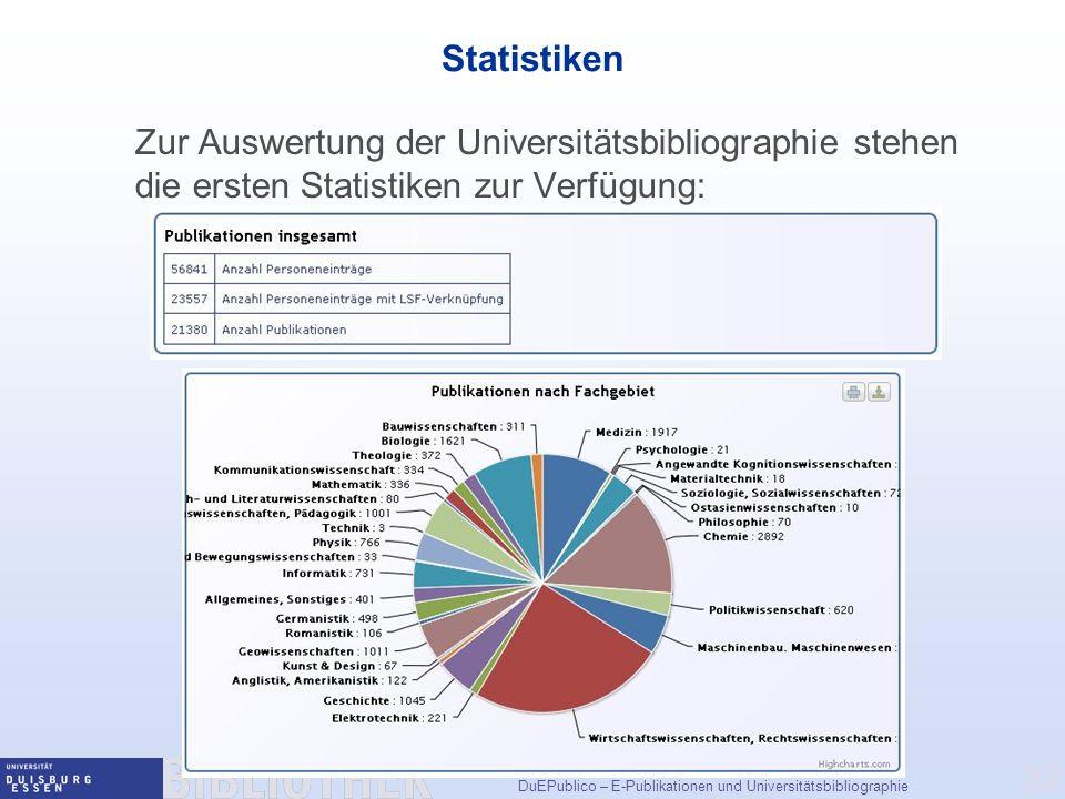 DuEPublico – E-Publikationen und Universitätsbibliographie 32 Statistiken Zur Auswertung der Universitätsbibliographie stehen die ersten Statistiken zur Verfügung: