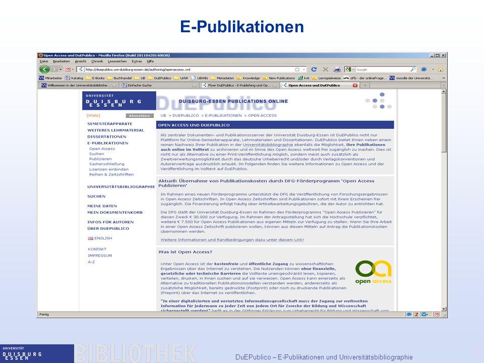 DuEPublico – E-Publikationen und Universitätsbibliographie 5 E-Publikationen