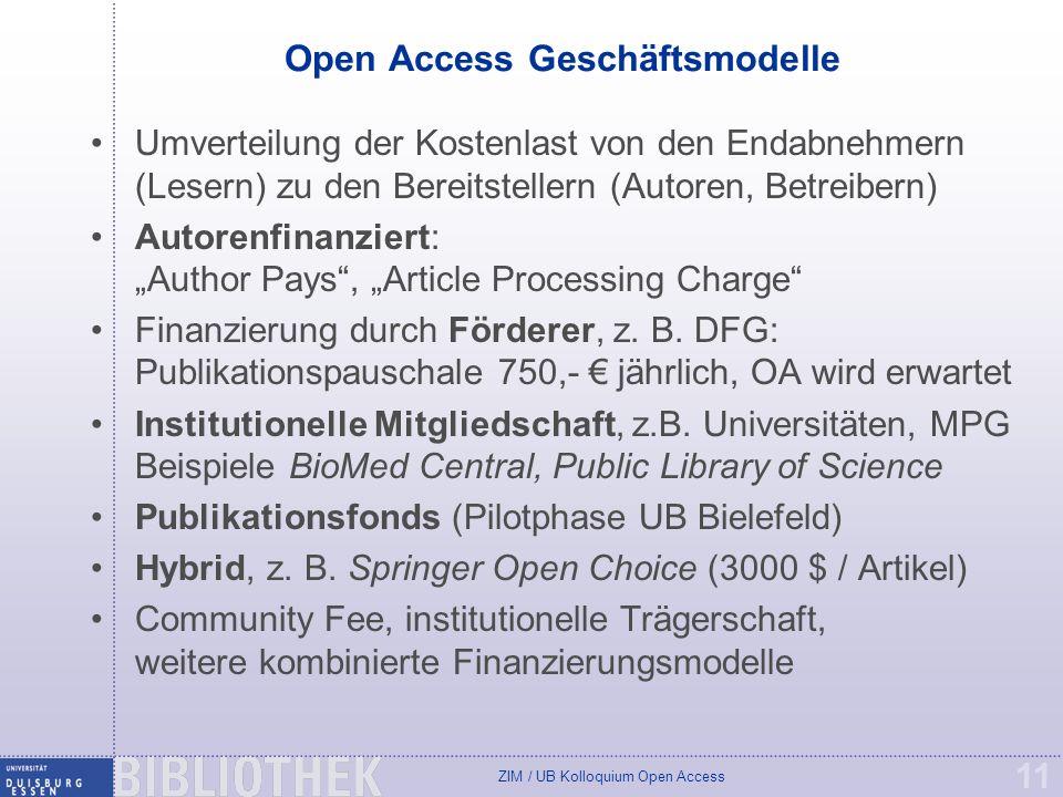 ZIM / UB Kolloquium Open Access 11 Open Access Geschäftsmodelle Umverteilung der Kostenlast von den Endabnehmern (Lesern) zu den Bereitstellern (Autoren, Betreibern) Autorenfinanziert: Author Pays, Article Processing Charge Finanzierung durch Förderer, z.