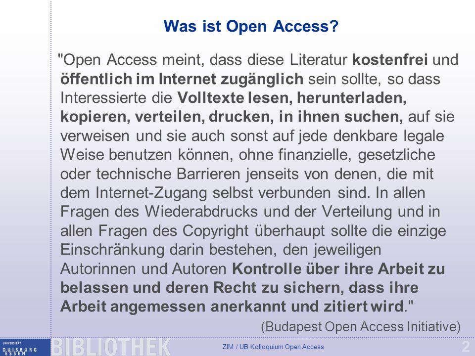 ZIM / UB Kolloquium Open Access 23 Appell für Open Access 1.Veröffentlichen Sie möglichst in Open Access Zeit- schriften (goldener Weg), evtl.