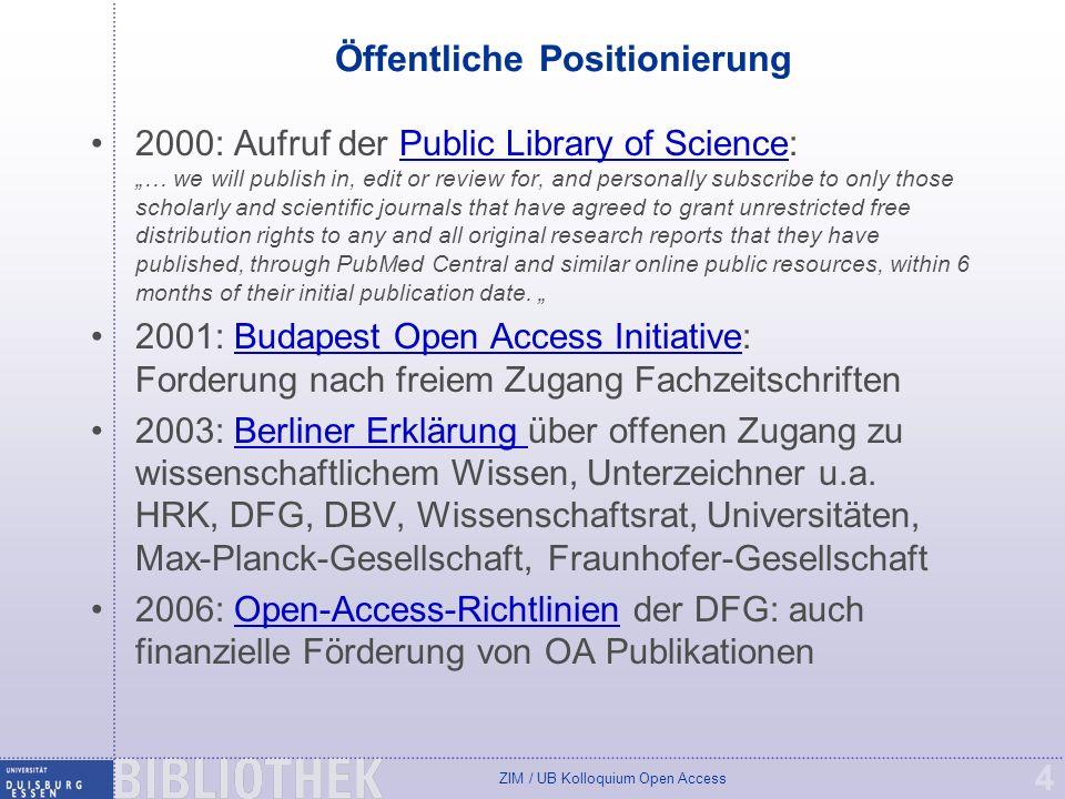 ZIM / UB Kolloquium Open Access 15 SHERPA/RoMEO Liste Viele Verlage gestatten die parallele Selbstarchivierung von Publikationen auf Dokumentenservern (grüner Weg) SHERPA/RoMEO Liste: http://www.dini.de/wiss-publizieren/sherparomeo/ Liste ist nicht rechtsverbindlich, aber guter Anhaltspunkt.