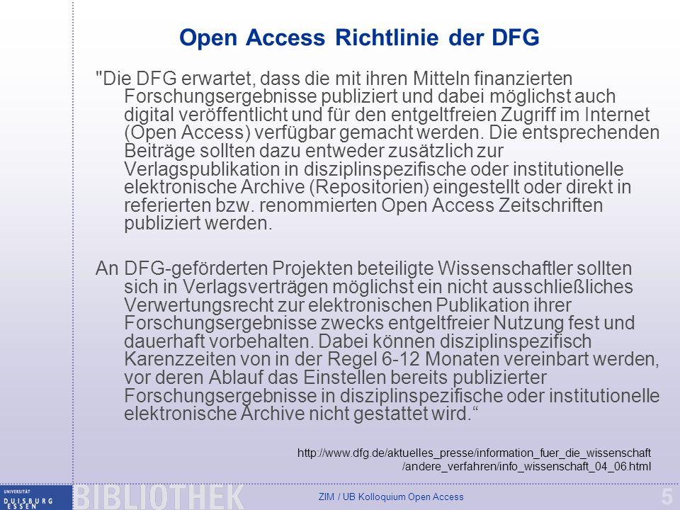 ZIM / UB Kolloquium Open Access 16 SHERPA/RoMEO Liste Quelle: http://www.dini.de/wiss-publizieren/sherparomeo/