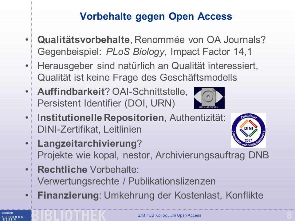 ZIM / UB Kolloquium Open Access 19 Online publizieren mit DuEPublico