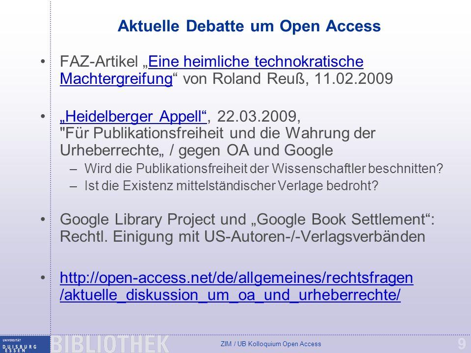 ZIM / UB Kolloquium Open Access 20 Online publizieren mit DuEPublico