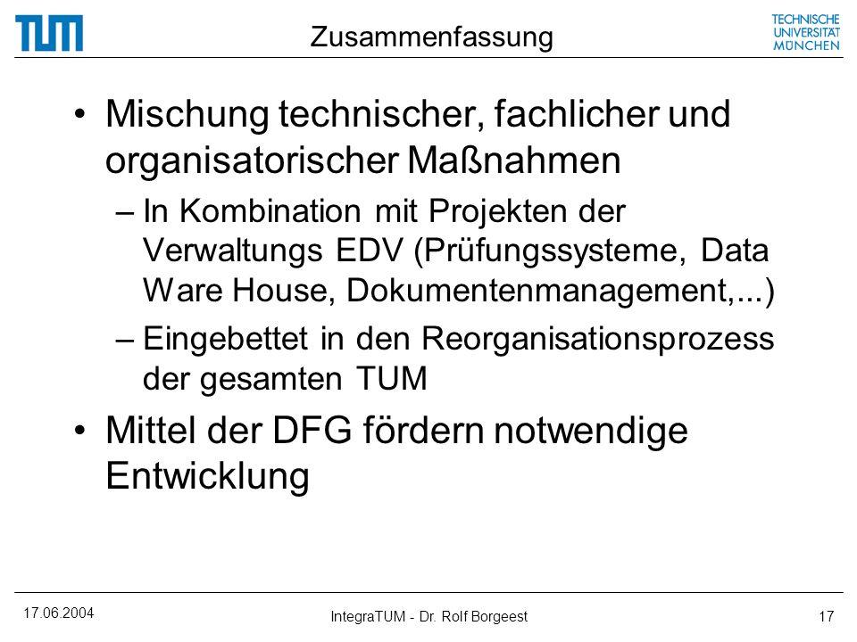 17.06.2004 IntegraTUM - Dr. Rolf Borgeest17 Zusammenfassung Mischung technischer, fachlicher und organisatorischer Maßnahmen –In Kombination mit Proje