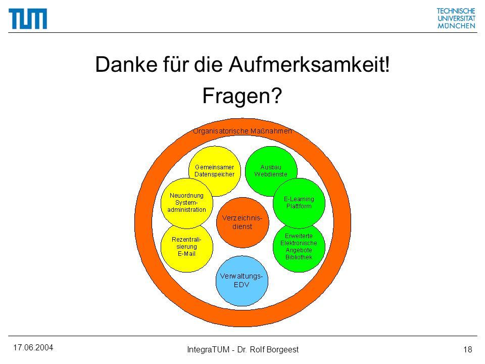 17.06.2004 IntegraTUM - Dr. Rolf Borgeest18 Danke für die Aufmerksamkeit! Fragen?