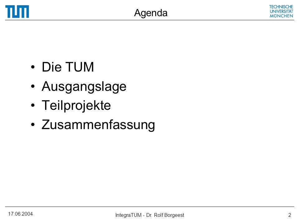 17.06.2004 IntegraTUM - Dr. Rolf Borgeest2 Agenda Die TUM Ausgangslage Teilprojekte Zusammenfassung