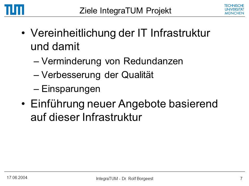 17.06.2004 IntegraTUM - Dr. Rolf Borgeest7 Ziele IntegraTUM Projekt Vereinheitlichung der IT Infrastruktur und damit –Verminderung von Redundanzen –Ve