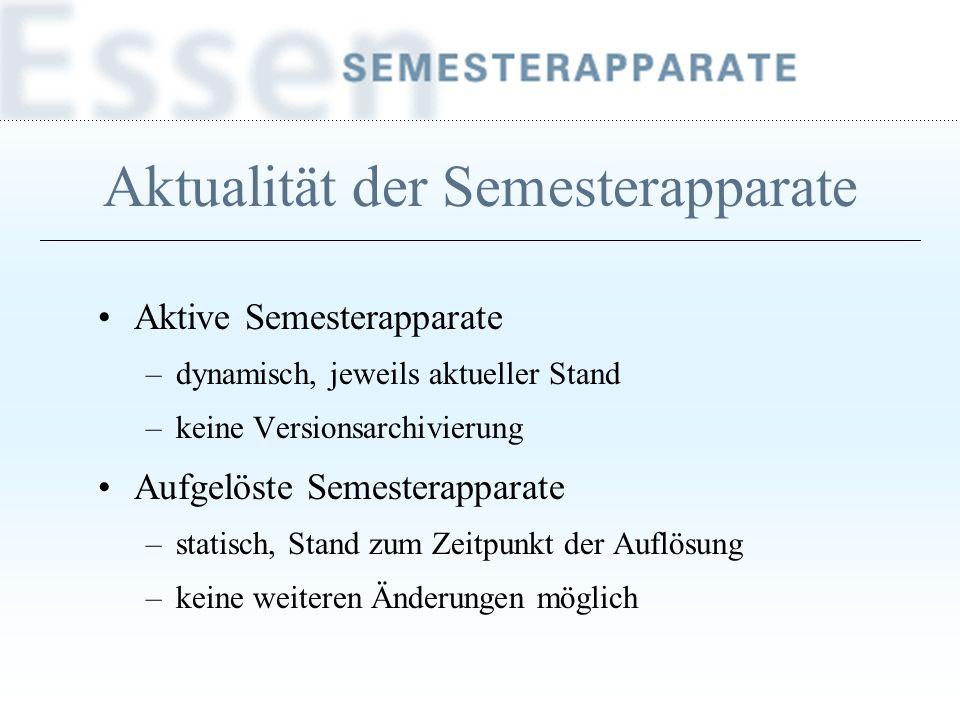 Aktualität der Semesterapparate Aktive Semesterapparate –dynamisch, jeweils aktueller Stand –keine Versionsarchivierung Aufgelöste Semesterapparate –s