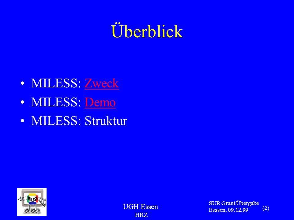 UGH Essen HRZ SUR Grant Übergabe Esssen, 09.12.99 (2) Überblick MILESS: ZweckZweck MILESS: DemoDemo MILESS: Struktur