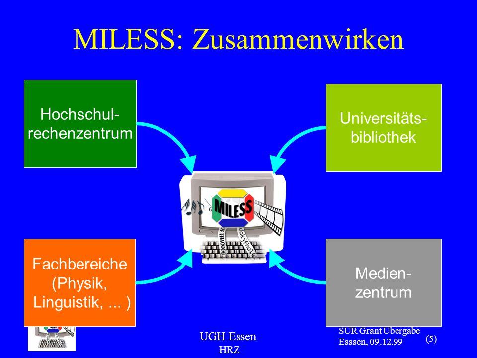 UGH Essen HRZ SUR Grant Übergabe Esssen, 09.12.99 (5) Medien- zentrum Universitäts- bibliothek Fachbereiche (Physik, Linguistik,...