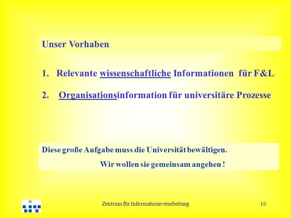 Zentrum für Informationsverarbeitung10 Diese große Aufgabe muss die Universität bewältigen. Wir wollen sie gemeinsam angehen ! Unser Vorhaben 1.Releva
