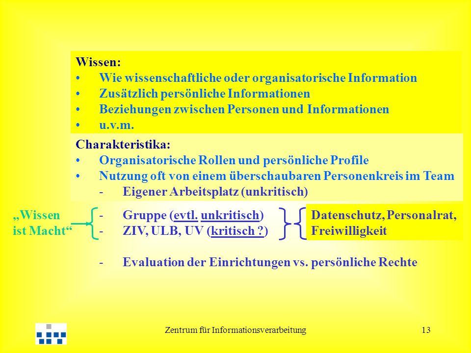 Zentrum für Informationsverarbeitung13 Wissen: Wie wissenschaftliche oder organisatorische Information Zusätzlich persönliche Informationen Beziehunge