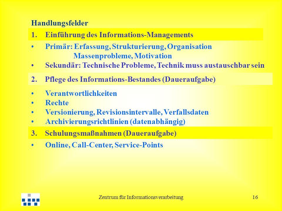 Zentrum für Informationsverarbeitung16 2. Pflege des Informations-Bestandes (Daueraufgabe) 3. Schulungsmaßnahmen (Daueraufgabe) 1.Einführung des Infor