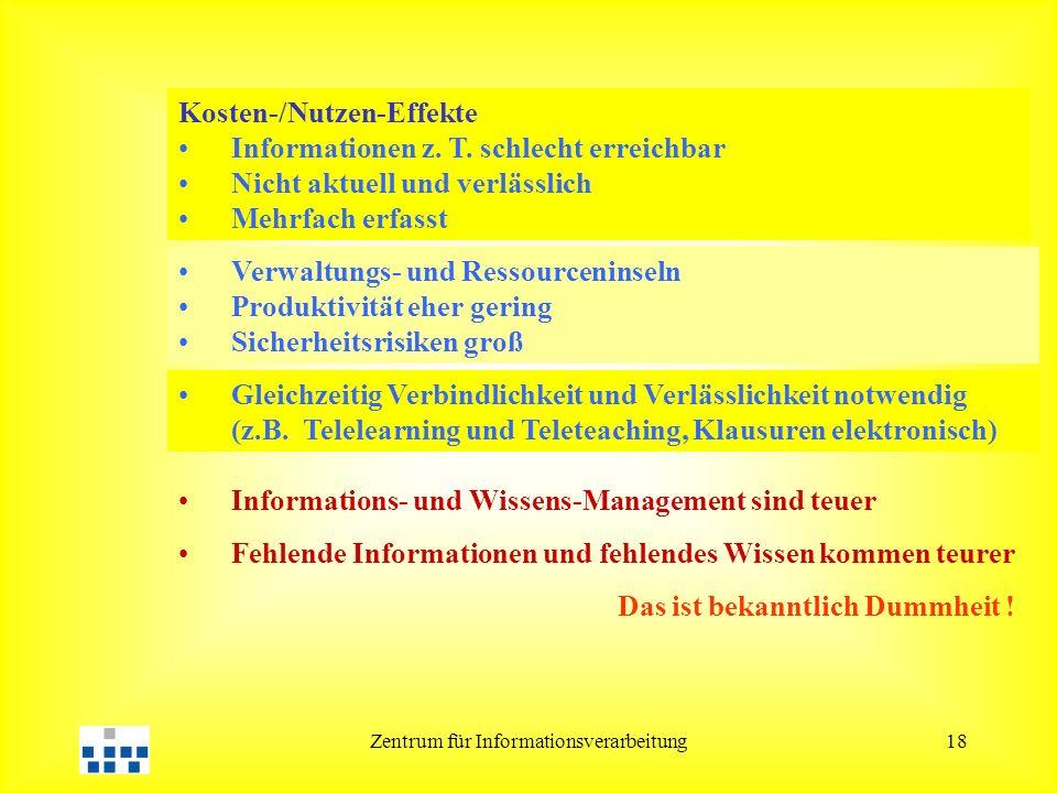 Zentrum für Informationsverarbeitung18 Kosten-/Nutzen-Effekte Informationen z. T. schlecht erreichbar Nicht aktuell und verlässlich Mehrfach erfasst V