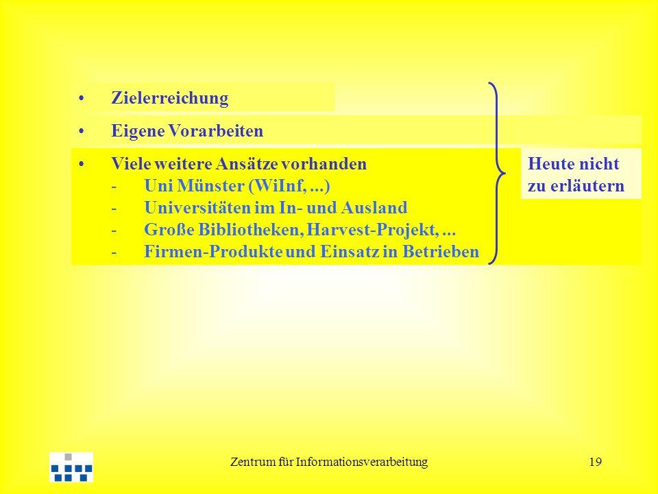 Zentrum für Informationsverarbeitung19 Eigene Vorarbeiten Viele weitere Ansätze vorhanden -Uni Münster (WiInf,...) -Universitäten im In- und Ausland -Große Bibliotheken, Harvest-Projekt,...
