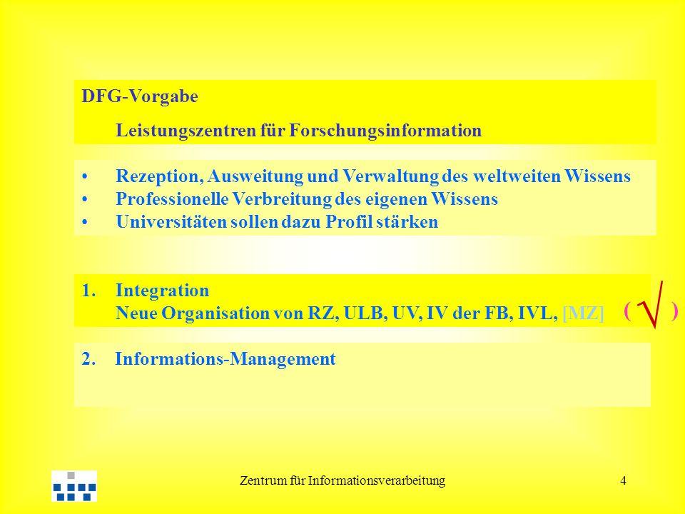 Zentrum für Informationsverarbeitung4 DFG-Vorgabe Leistungszentren für Forschungsinformation 1.Integration Neue Organisation von RZ, ULB, UV, IV der F