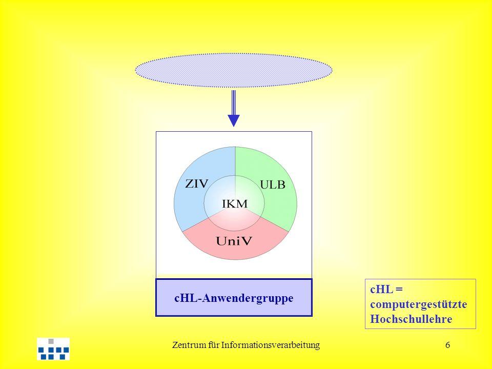 Zentrum für Informationsverarbeitung6 cHL = computergestützte Hochschullehre cHL-Anwendergruppe