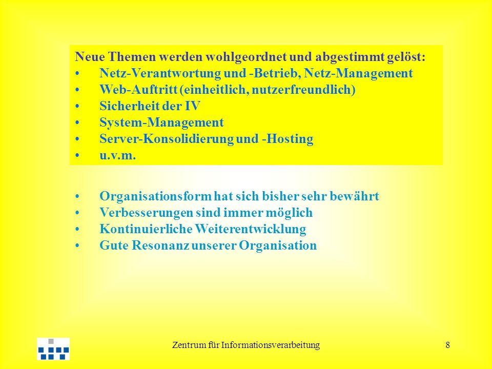 Zentrum für Informationsverarbeitung8 Neue Themen werden wohlgeordnet und abgestimmt gelöst: Netz-Verantwortung und -Betrieb, Netz-Management Web-Auftritt (einheitlich, nutzerfreundlich) Sicherheit der IV System-Management Server-Konsolidierung und -Hosting u.v.m.