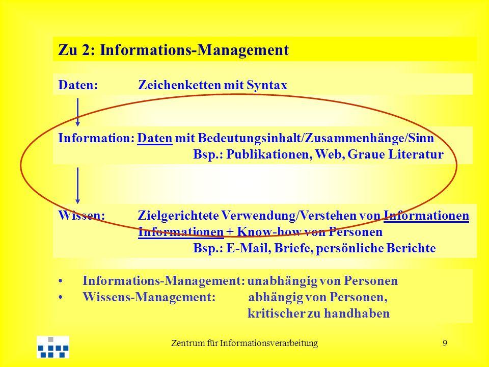 Zentrum für Informationsverarbeitung9 Zu 2: Informations-Management Daten: Zeichenketten mit Syntax Information: Daten mit Bedeutungsinhalt/Zusammenhä