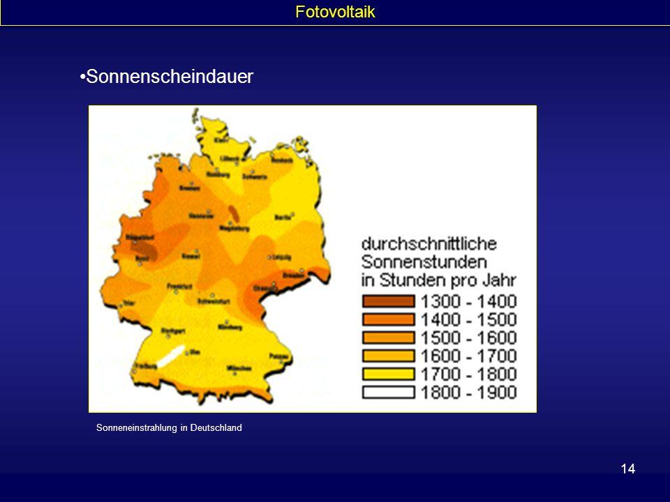 14 Sonnenscheindauer Sonneneinstrahlung in Deutschland Fotovoltaik