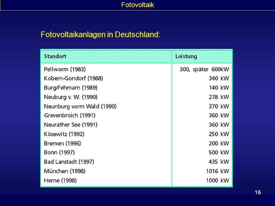 16 Fotovoltaik Fotovoltaikanlagen in Deutschland: