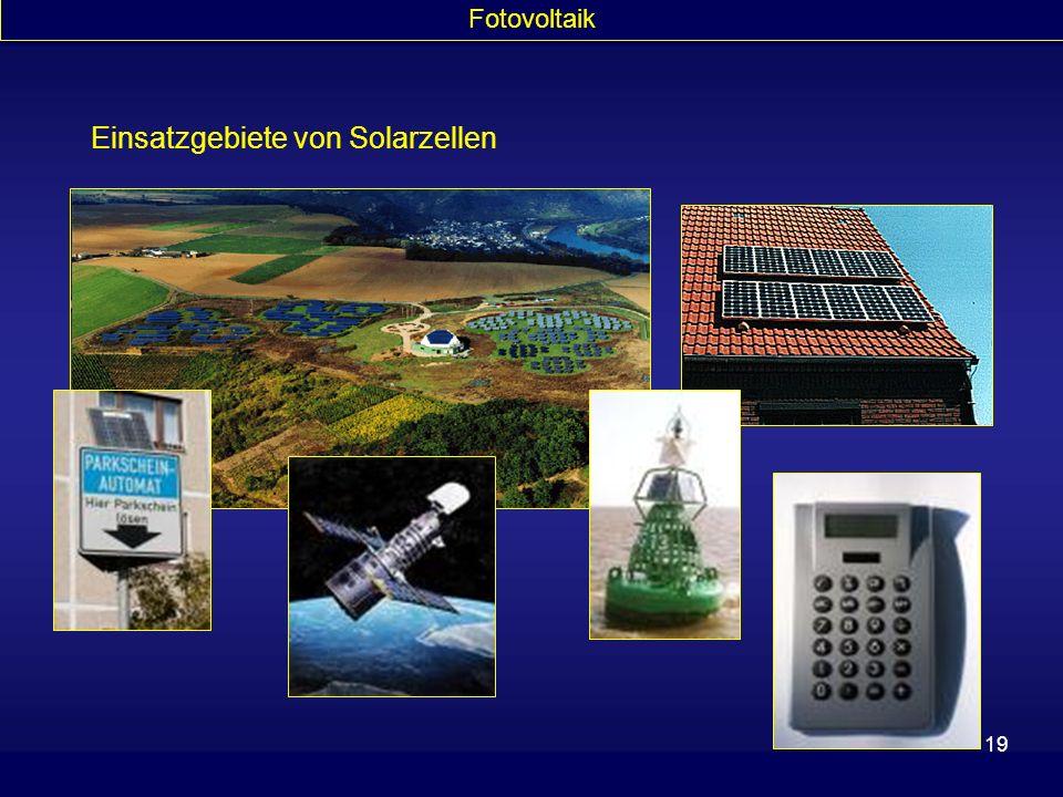 19 Einsatzgebiete von Solarzellen Fotovoltaik