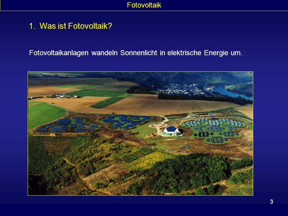 3 1.Was ist Fotovoltaik? Fotovoltaik Fotovoltaikanlagen wandeln Sonnenlicht in elektrische Energie um.