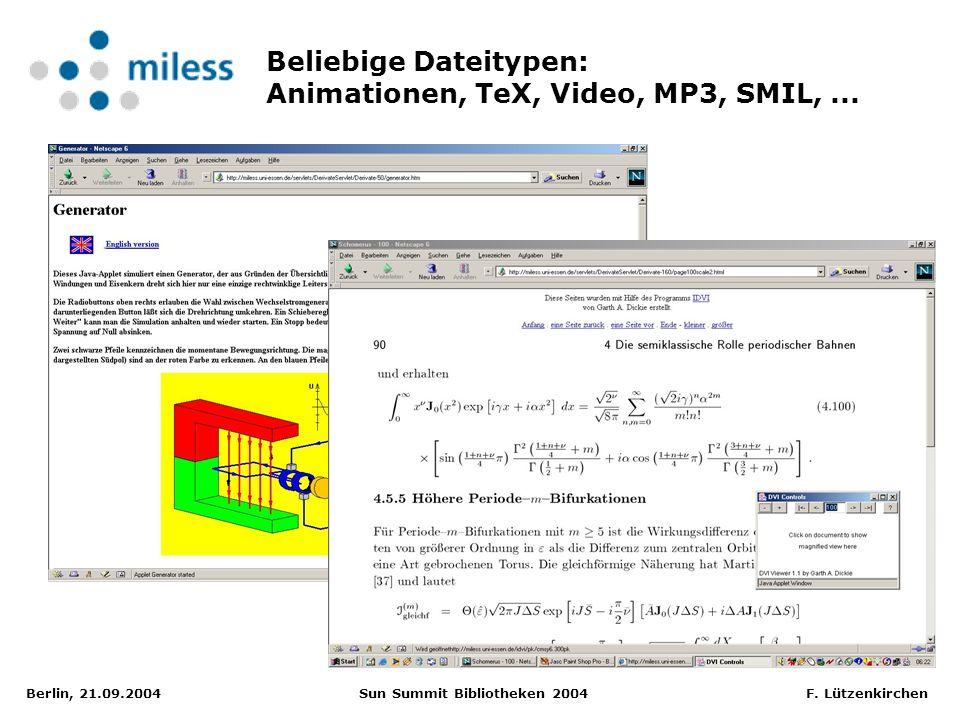 Berlin, 21.09.2004 Sun Summit Bibliotheken 2004 F. Lützenkirchen Beliebige Dateitypen: Animationen, TeX, Video, MP3, SMIL,...