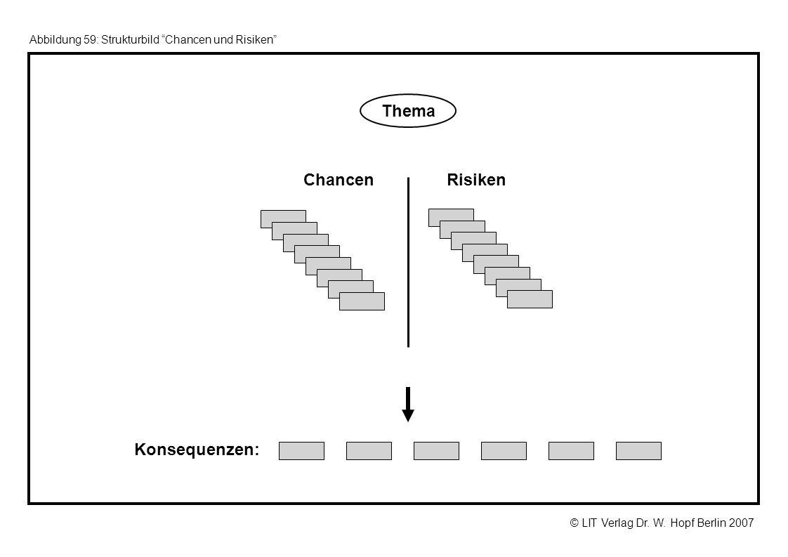 © LIT Verlag Dr. W. Hopf Berlin 2007 Abbildung 59: Strukturbild Chancen und Risiken ChancenRisiken Konsequenzen: Thema