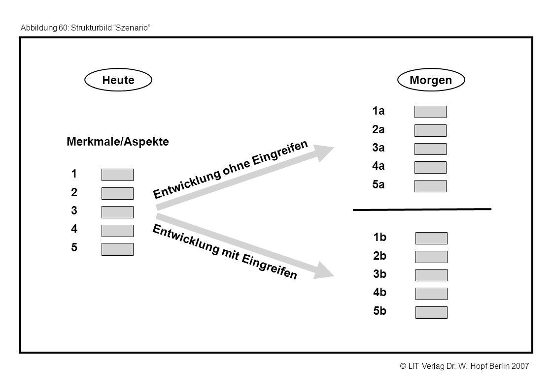© LIT Verlag Dr. W. Hopf Berlin 2007 Abbildung 60: Strukturbild Szenario Entwicklung ohne Eingreifen Entwicklung mit Eingreifen Merkmale/Aspekte 1a 2a