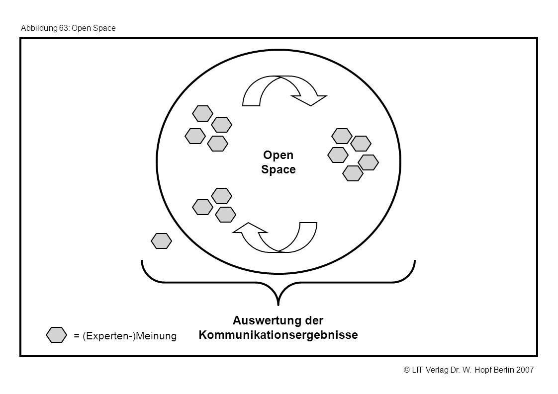 © LIT Verlag Dr. W. Hopf Berlin 2007 Abbildung 63: Open Space Open Space Auswertung der Kommunikationsergebnisse = (Experten-)Meinung