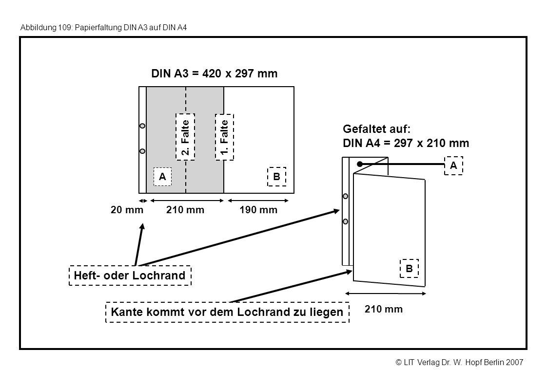 © LIT Verlag Dr. W. Hopf Berlin 2007 Abbildung 109: Papierfaltung DIN A3 auf DIN A4 DIN A3 = 420 x 297 mm 190 mm20 mm 1. Falte 2. Falte 210 mm Gefalte