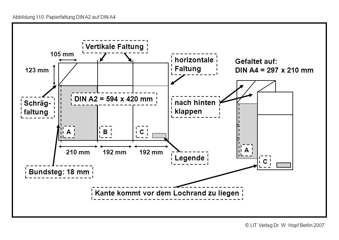 © LIT Verlag Dr. W. Hopf Berlin 2007 Abbildung 110: Papierfaltung DIN A2 auf DIN A4 192 mm Gefaltet auf: DIN A4 = 297 x 210 mm 192 mm210 mm 105 mm ABC