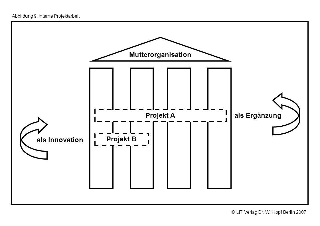 © LIT Verlag Dr. W. Hopf Berlin 2007 Abbildung 9: Interne Projektarbeit als Ergänzung als Innovation Mutterorganisation Projekt A Projekt B