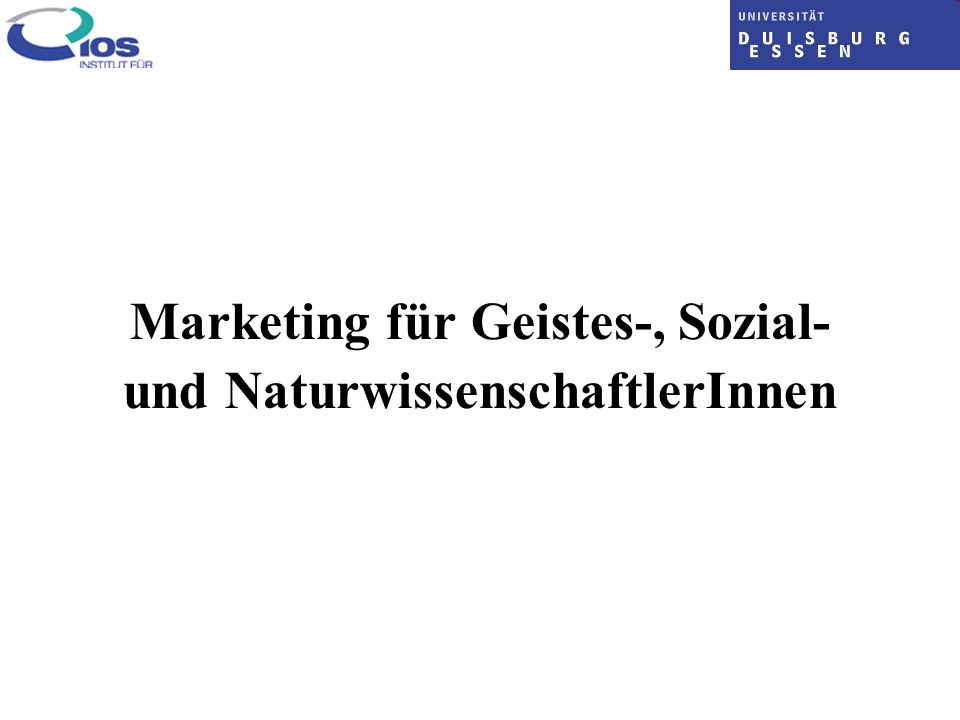 Marketing für Geistes-, Sozial- und NaturwissenschaftlerInnen