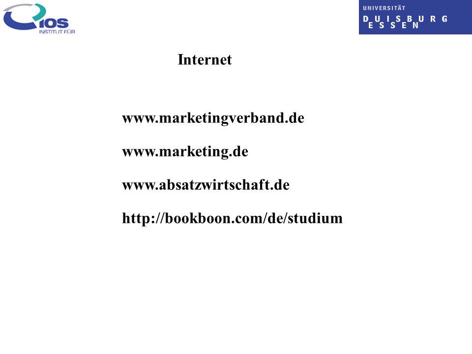 Internet www.marketingverband.de www.marketing.de www.absatzwirtschaft.de http://bookboon.com/de/studium