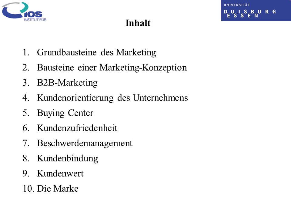 Inhalt 1. Grundbausteine des Marketing 2. Bausteine einer Marketing-Konzeption 3. B2B-Marketing 4. Kundenorientierung des Unternehmens 5. Buying Cente