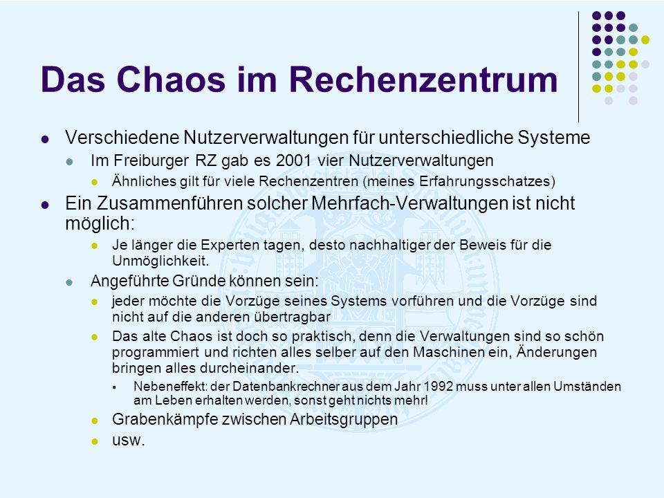 Das Chaos im Rechenzentrum Verschiedene Nutzerverwaltungen für unterschiedliche Systeme Im Freiburger RZ gab es 2001 vier Nutzerverwaltungen Ähnliches
