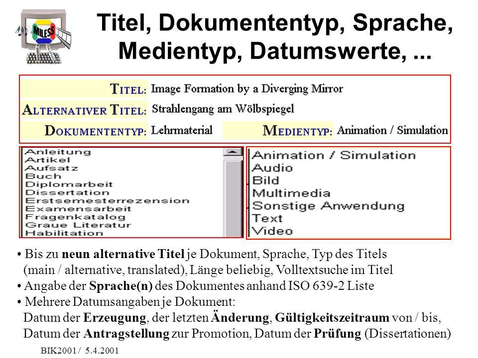 BIK2001 / 5.4.2001 Titel, Dokumententyp, Sprache, Medientyp, Datumswerte,... Bis zu neun alternative Titel je Dokument, Sprache, Typ des Titels (main