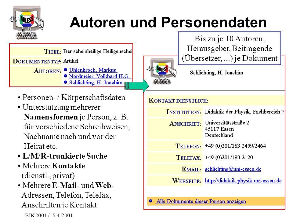 BIK2001 / 5.4.2001 Autoren und Personendaten Personen- / Körperschaftsdaten Unterstützung mehrerer Namensformen je Person, z. B. für verschiedene Schr