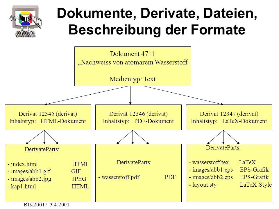 BIK2001 / 5.4.2001 Dokumente, Derivate, Dateien, Beschreibung der Formate Dokument 4711 Nachweiss von atomarem Wasserstoff Medientyp: Text Derivat 123