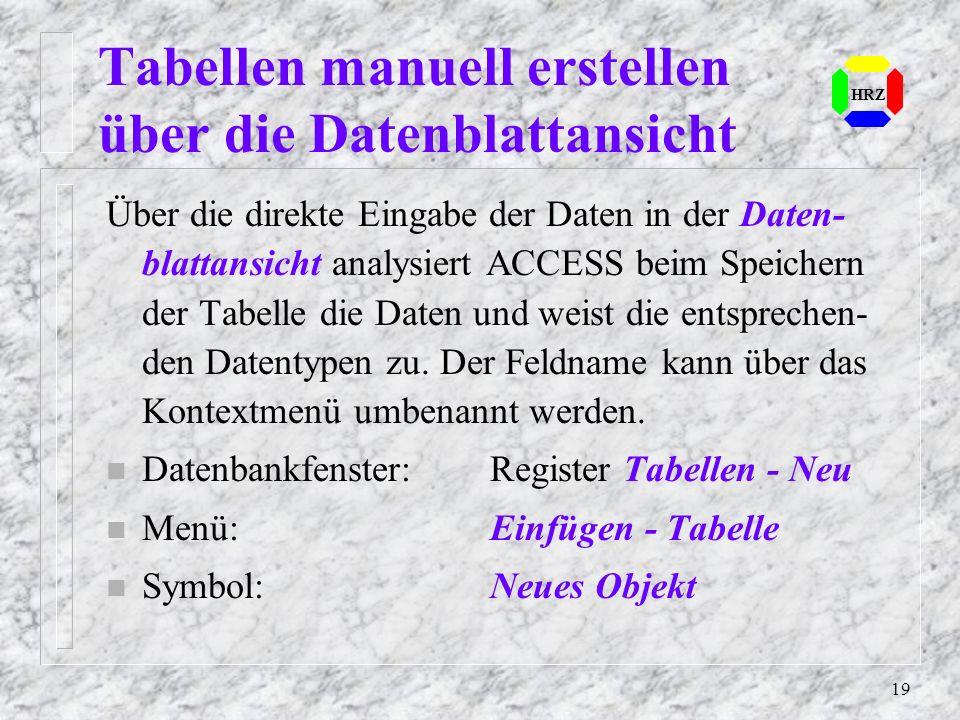 19 HRZ Tabellen manuell erstellen über die Datenblattansicht Über die direkte Eingabe der Daten in der Daten- blattansicht analysiert ACCESS beim Spei